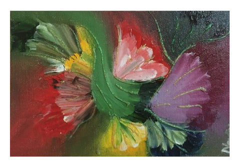 Abstract Floral | Finger Painting | Oil Painting & Glitter | Wall Art  | Artist : Nandini Rawat