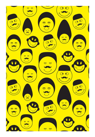 Funny Faces Vector On Yellow Art PosterGully Specials