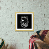 Women With Tattoo Flower  Premium Square Italian Wooden Frames | Artist : Inderpreet Singh
