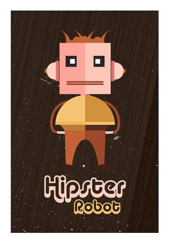 Hipster Robot With Abstract Brown Background Art PosterGully Specials