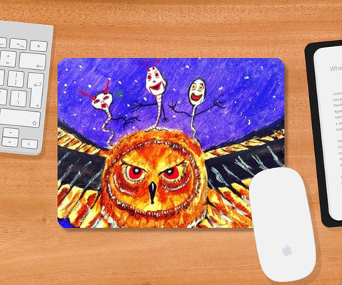Mousepad, Owlish Intentions Mousepad | Artist : Ramkumar Iyer, - PosterGully