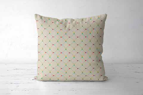 Hearts and square dotted lines pattern Cushion Covers | Artist : Designerchennai