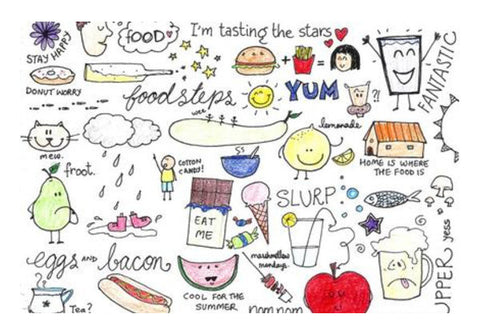 Food lover coloured Doodle  Wall Art  | Artist : Anjali Nilakantan