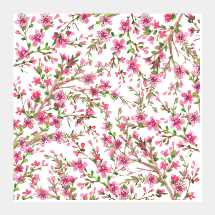 elegant pink cherry blossom watercolor floral art background square
