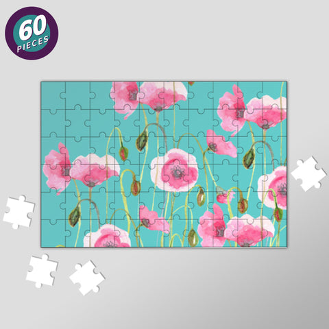 Pink Poppies Nature Painting Mint Floral Poster Jigsaw Puzzles | Artist : Seema Hooda