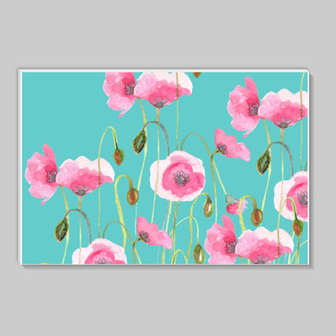 Blooming Pink Poppies Painting Mint Floral  Stick Ons | Artist : Seema Hooda