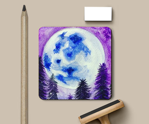 PosterGully Coasters, Moon Lit Coasters | Artist : Akshita Shah, - PosterGully