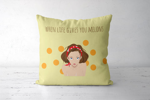 When life gives you melons Cushion Covers | Artist : Soumyajyoti Dey