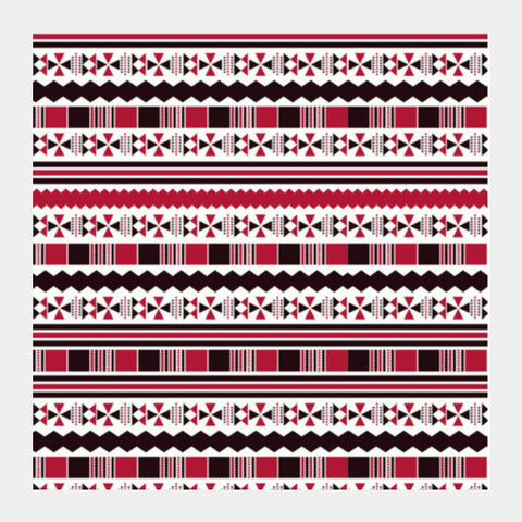 Red Aztec Tribal Square Art Prints PosterGully Specials