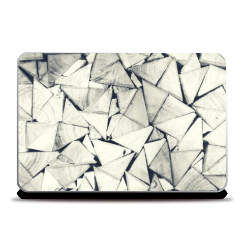 Black and White Triangle Wood Pattern Laptop Skins | Artist : Aditya Gupta | Special Deal - Size 15.6""