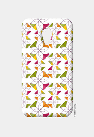 Flowers Retro Shapes Geometric Pattern On Multicolor Moto G2 Cases | Artist : Designerchennai