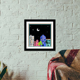 My city in the night Premium Square Italian Wooden Frames | Artist : Pallavi Rawal