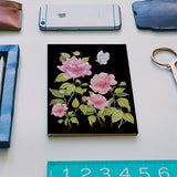 Pink Wildflowers On Black Watercolor Spring Design Notebook | Artist : Seema Hooda