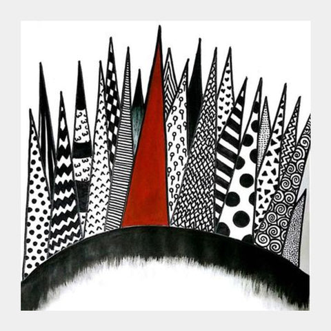 Patterned Spikes Square Art Prints | Artist : Maitreyeeee