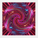 Fractal Neon Sphere Spiral Digital Art Design Square Art Prints | Artist : Seema Hooda
