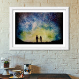 Starry night love Premium Italian Wooden Frames | Artist : Sukanya Chakraborty