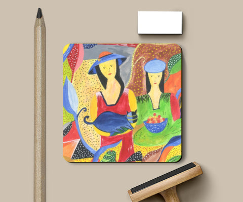 Coasters, Abstract Girls Coasters | Artist : Teena Chauhan, - PosterGully