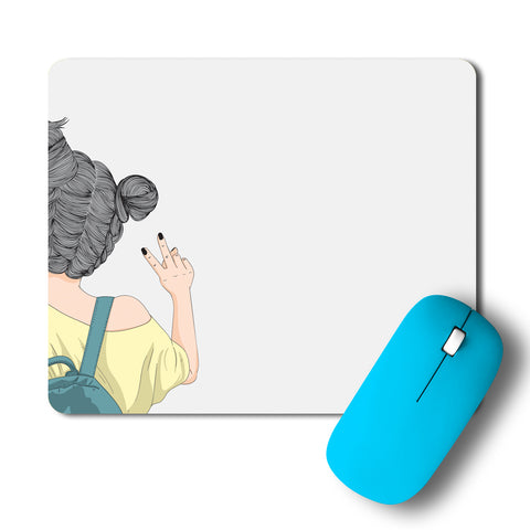 Cool Girl With A Backpack Artwork Mousepad