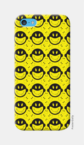 Monkey tongue out on black and yellow iPhone 5c Cases | Artist : Designerchennai