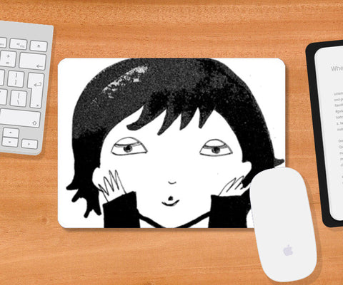 Black and White funny illustration Mousepad | Artist : Vaishnavi Gajapure