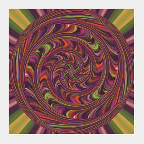 Colorful Abstract Psychedelic Digital Art Poster Square Art Prints | Artist : Seema Hooda