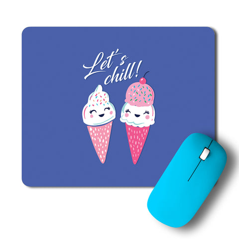 Cute Icecreams On A Date Lets Chill Minimal Artwork Mousepad