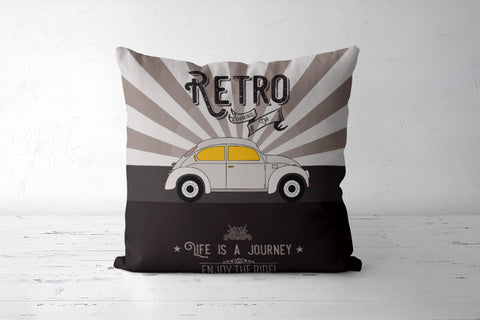Retro vintage car on gray Cushion Covers | Artist : Designerchennai