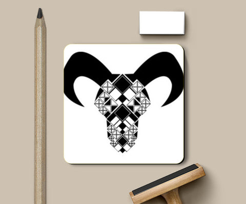 Capricorn symbol, Bull, Geometrical shapes, Black and white Coaster Design Coasters | Artist : Noella Dias