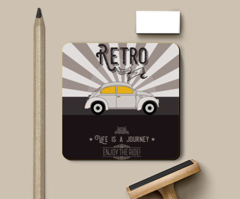 Retro vintage car on gray Coasters | Artist : Designerchennai