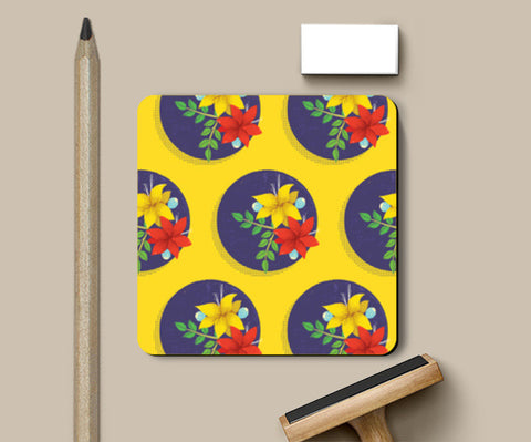 Coasters, Flower Power (Yellow) Coasters | Artist : Tanvi C, - PosterGully