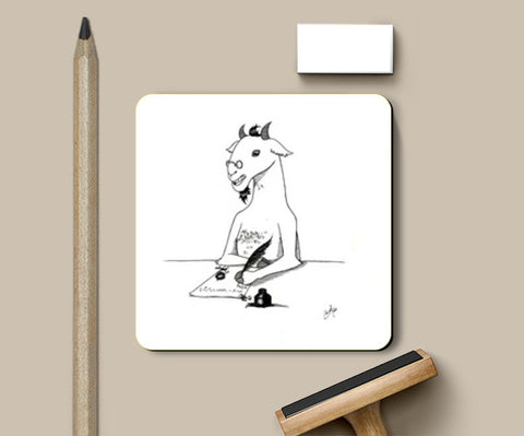 Coasters, Goat author pen and ink Coasters | Artist : Shubhraneel Ghosh, - PosterGully