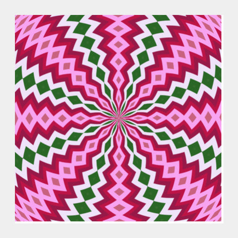 Beautiful Pink Green Geometric Flower Digital Optical Art Background Square Art Prints PosterGully Specials