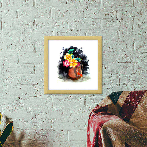 Plastic Flowers Premium Square Italian Wooden Frames | Artist : Sanjay Ghosh