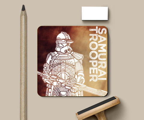 Samurai Trooper: Star Wars inspired original artwork, black, red, duotone, bold, bright, pop art, trendy graphic art, fan art, intricate, graphic poster, minimalist art, trending designs Coasters | Artist : SREEJITH v