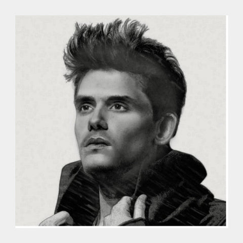 John Mayer sketch Square Art Prints | Artist : Sukanya Chakraborty