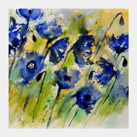Blue Flowers Square Art Prints PosterGully Specials