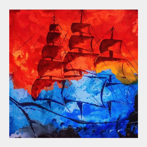 Navy Square Art Prints | Artist : kartikey sharma
