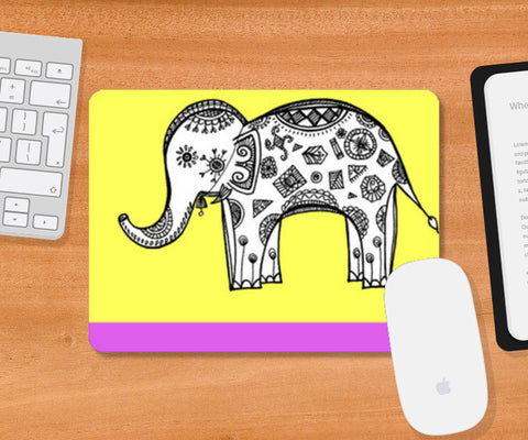 Colourful Elephant Patterns Mousepad | Artist : Amulya Jayapal
