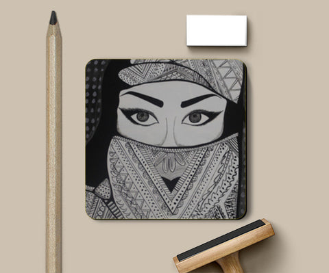 The Girl in Veil Coasters | Artist : Pranita Bajoria