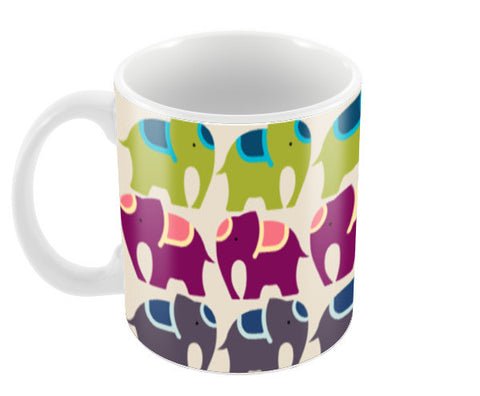 Colourful Elephants  Coffee Mugs | Artist : Sriparna Chandra