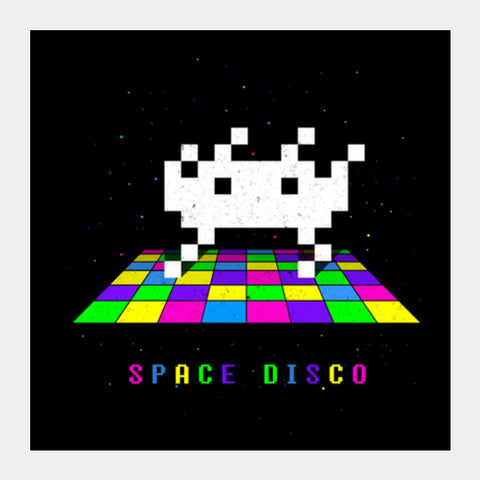 Space Disco pixel space invader dance Square Art Prints | Artist : 8bitbaba