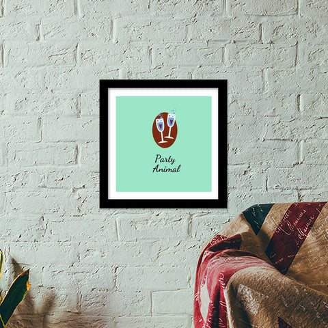 Party Animal Premium Square Italian Wooden Frames | Artist : Pallavi Rawal