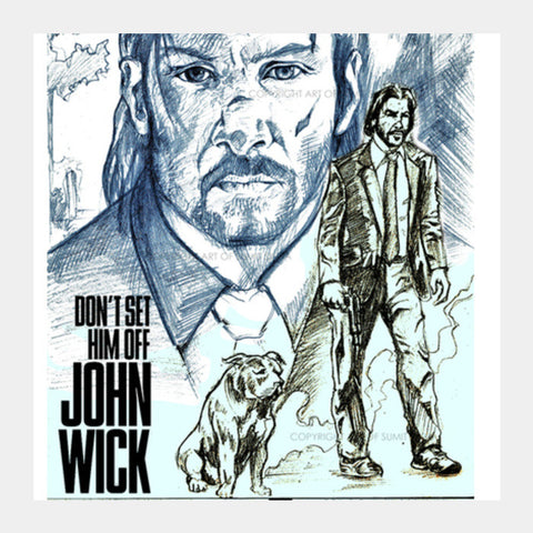 John Wick Square Art Prints | Artist : Draw On Demand