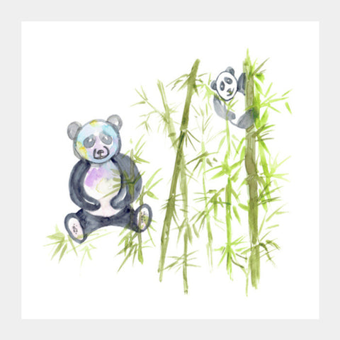 Cute Playful Pandas Watercolor Animal Illustration Kids Nursery Decor Square Art Prints PosterGully Specials