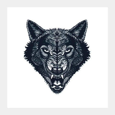"""Hunter"" - Wolf Line Art (Wild Animal) Square Art Prints PosterGully Specials"