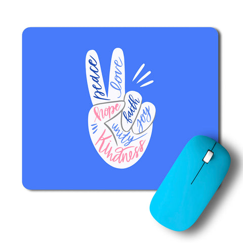 Peace Love Faith Joy Hope Unity Kindness Artwork Mousepad