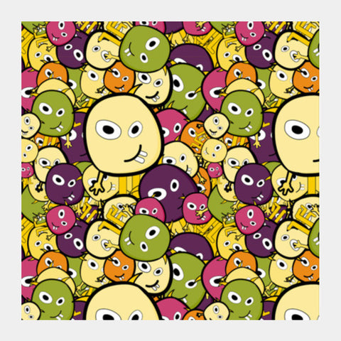 Doodle Characters Pattern Square Art Prints PosterGully Specials
