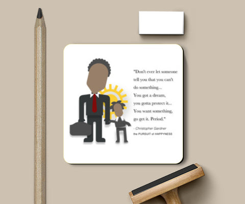 The Pursuit of Happyness |  Minimal Poster | Will Smith | Quotes Coasters | Artist : Sriparna Chandra