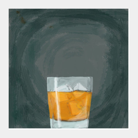 Single malt on the rocks Square Art Prints | Artist : Keshava Shukla