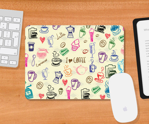 Mousepad, I Love Coffee Mousepad | Artist: Pratyusha Subramaniam, - PosterGully